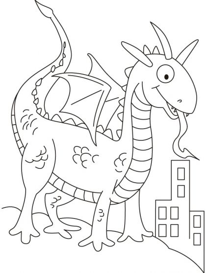 Dragon in dinosaurs shape looking for prey coloring pages | Download ...