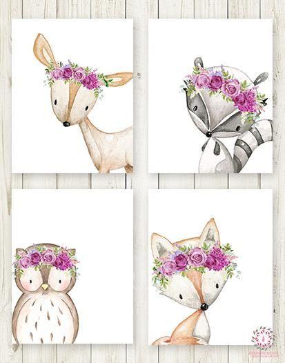 4 Deer Fox Owl Raccoon Boho Wall Art Print Purple Woodland Bohemian Floral Nursery Baby Girl Room Set Lot Prints Printable Decor #babysets