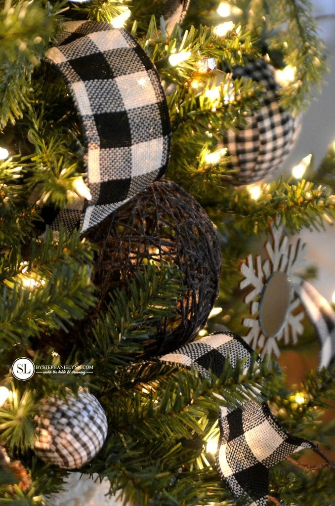 Modern Black And White Farmhouse Christmas Decor Giggles Galore Black Christmas Decorations Plaid Christmas Decor Christmas Decorations