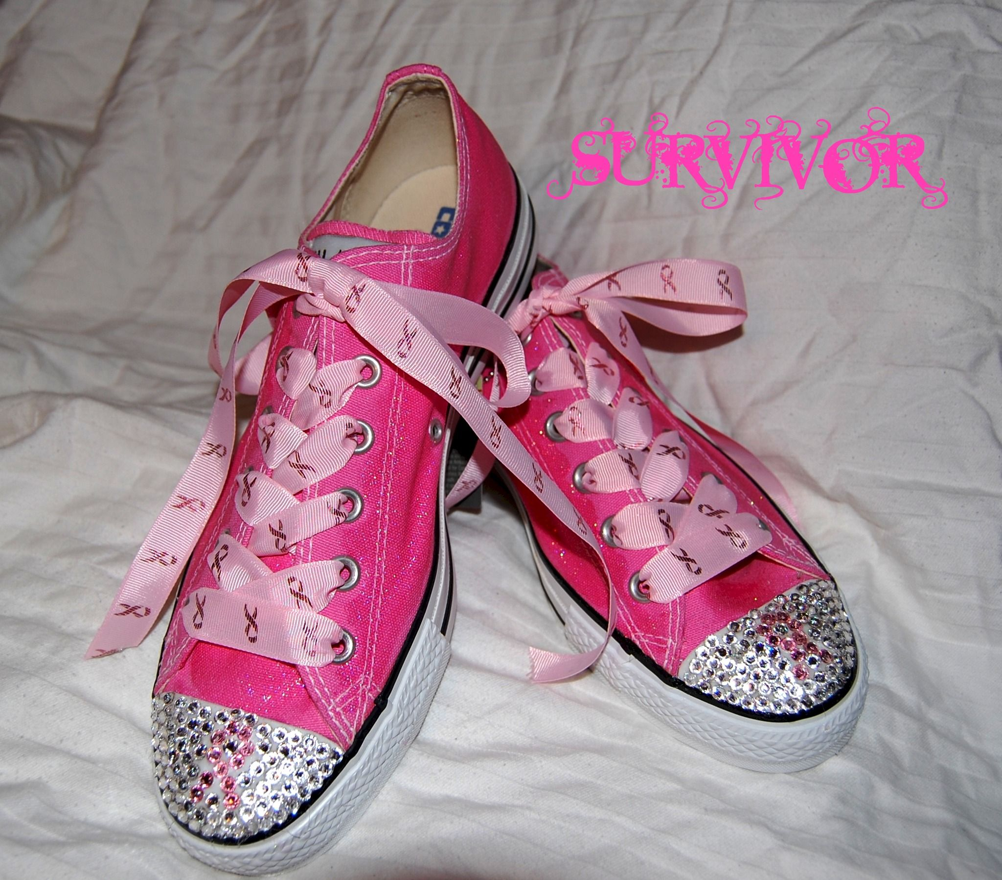 ecdc1e6aac353b Breast Cancer awareness Swarovski rhinestone converse for women! Available  in all sizes!