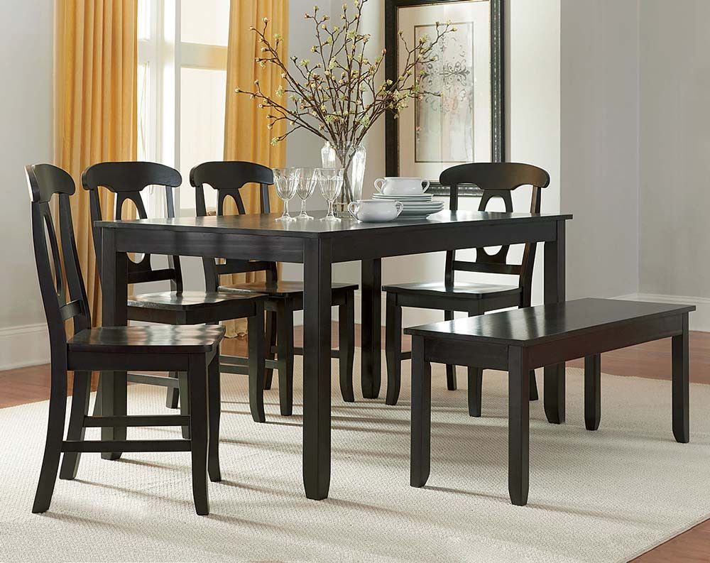 Gray Soft Lines Dining Set With Bench Grayson 6 Piece Dining