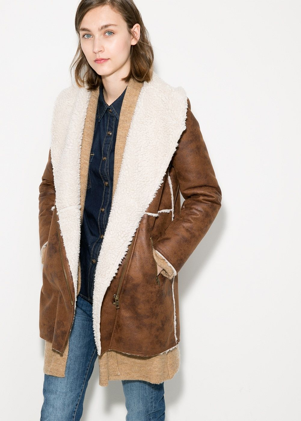 Shearling Lined Coat Womens
