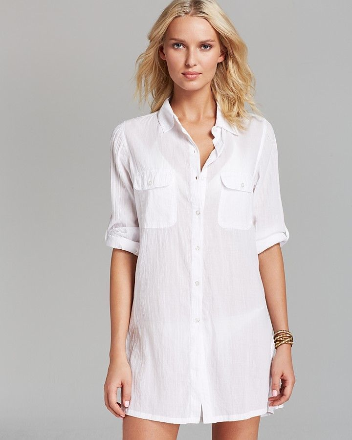 ca0c4b58f233f Ralph Lauren Crushed Cotton Camp Shirt Swim Cover-Up | More Things I ...
