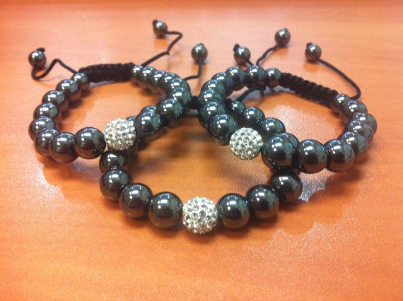 3Piece Adjustable Bracelets with White Crystal