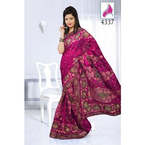 Dark pink color brasso premium printed indian sarees sari 4337