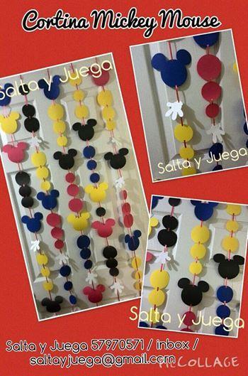 Cortina de guirnaldas de mickey mouse ideal para decorar la mesa del pastel secciones - Individuales para mesa ...