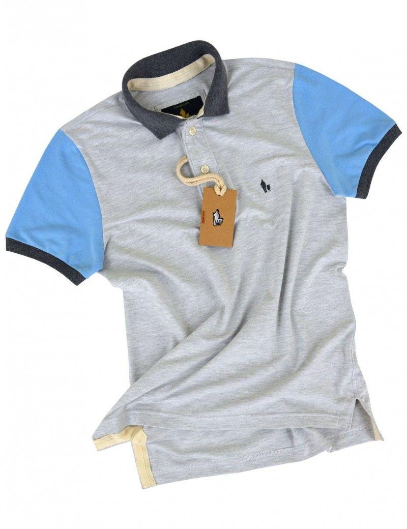 57c24d42ee Camisa Polo Masculina Manga Color (Mescla Gelo c  Azul Jeans)
