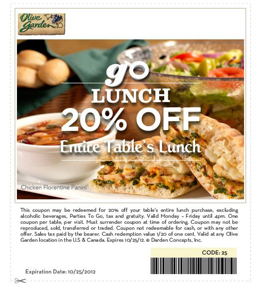Olive Garden Italian Restaurant Fast Food Coupons Lunch To Go Lunch