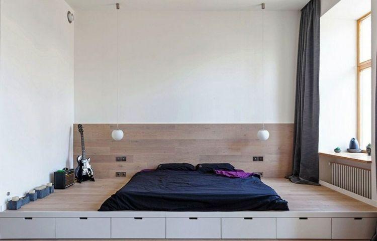 einrichten 1 zimmer wohnung bett podest schublaeden sitzecke fenster vorhang. Black Bedroom Furniture Sets. Home Design Ideas