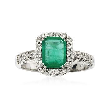 1.95 ct. t.w. Emerald & Diamond Ring in 14kt White Gold