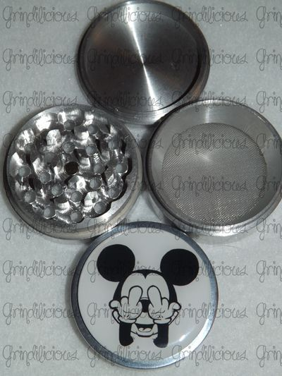 85a094b6e Mickey Mouse Middle Giving Finger White BG 4 Piece CNC Aluminum Pollen Herb  Grinder Grinders