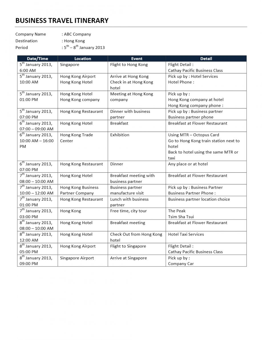 Free Business Trip Itinerary Business Travel Itinerary Template