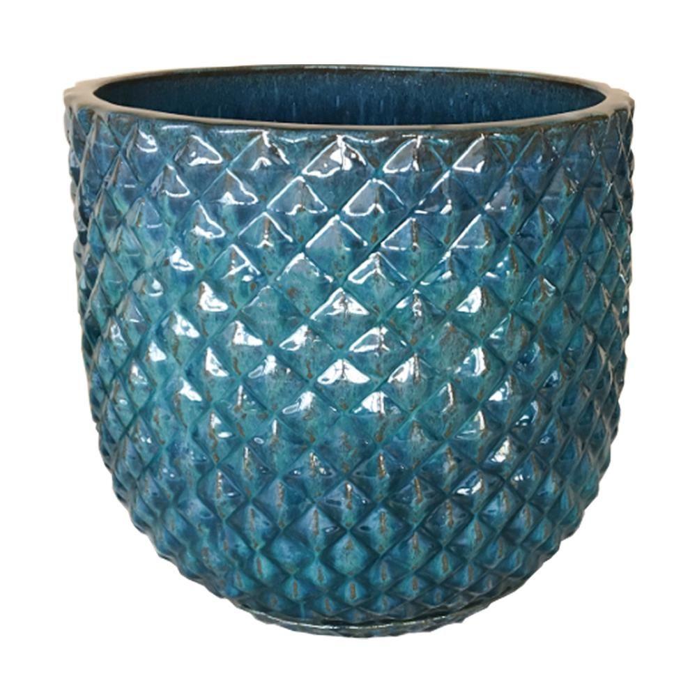 Trendspot 18 in  Pinequilt Blue Ceramic Pot-CR00869S-180M