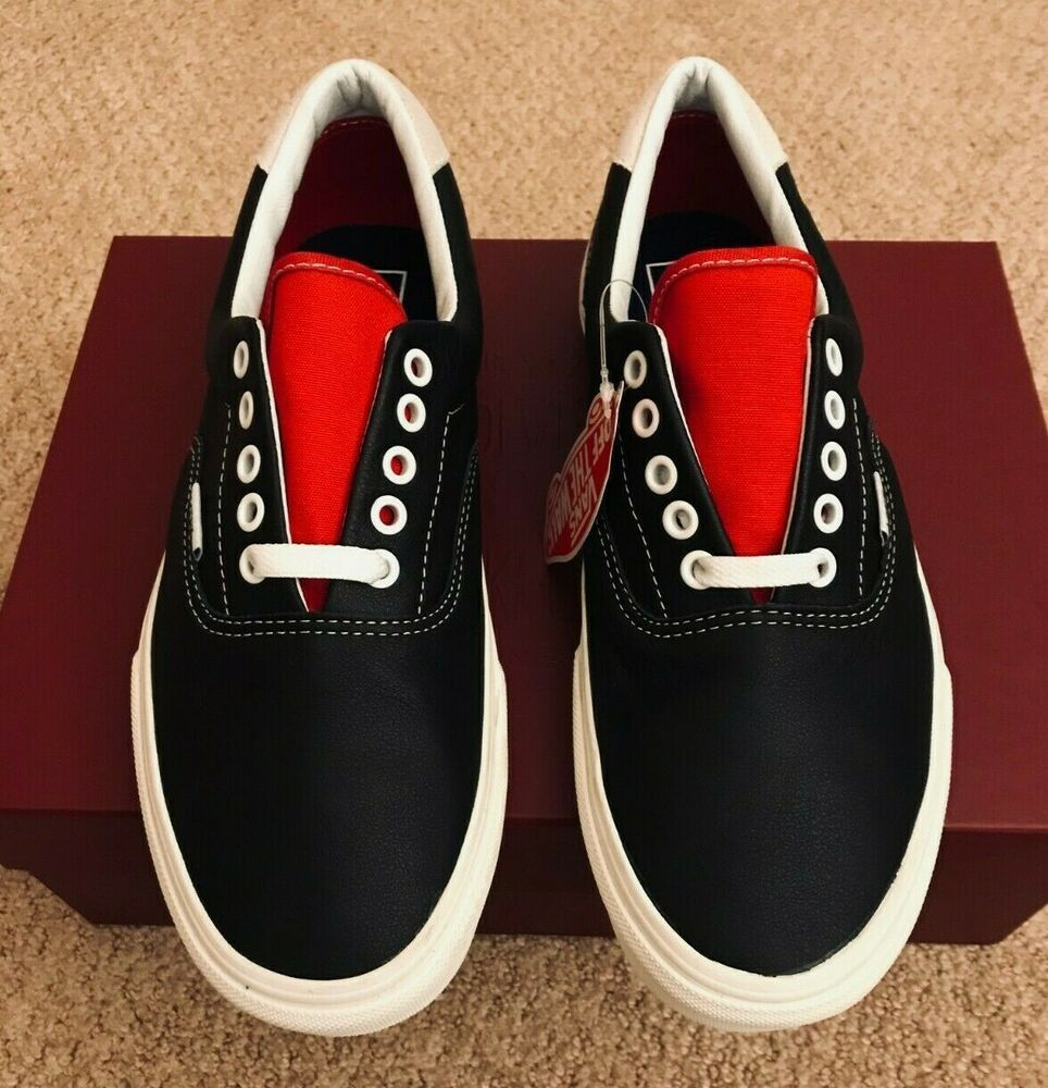 58cddea4fd BRAND NEW VANS ERA VINTAGE SPORT LEATHER BLACK RACING RED SZ US M 9 US W  10.5  VANS  AthleticSneakers