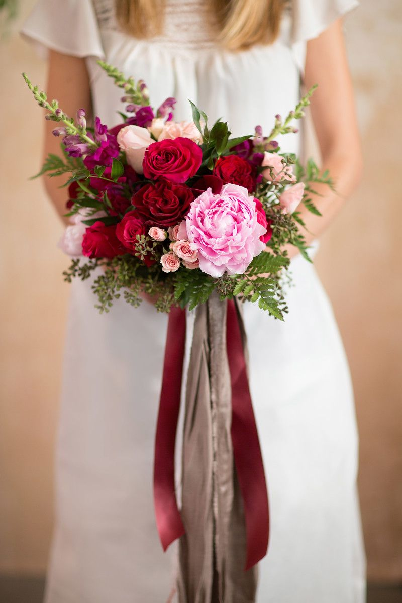 bridal bouquet | wedding | peony | pink and red | trailing ribbon ...