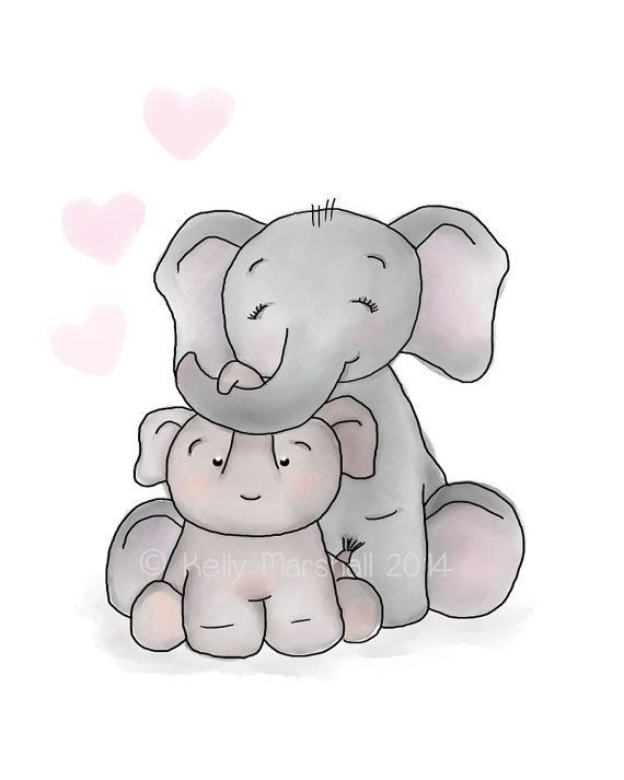 Baby and Me Love HeartsElephant Wall Art Children and Nursery Prints