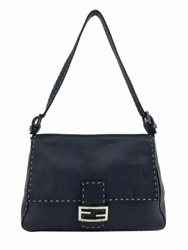 Fendi Selleria Leather Large Baguette Shoulder Bag Black