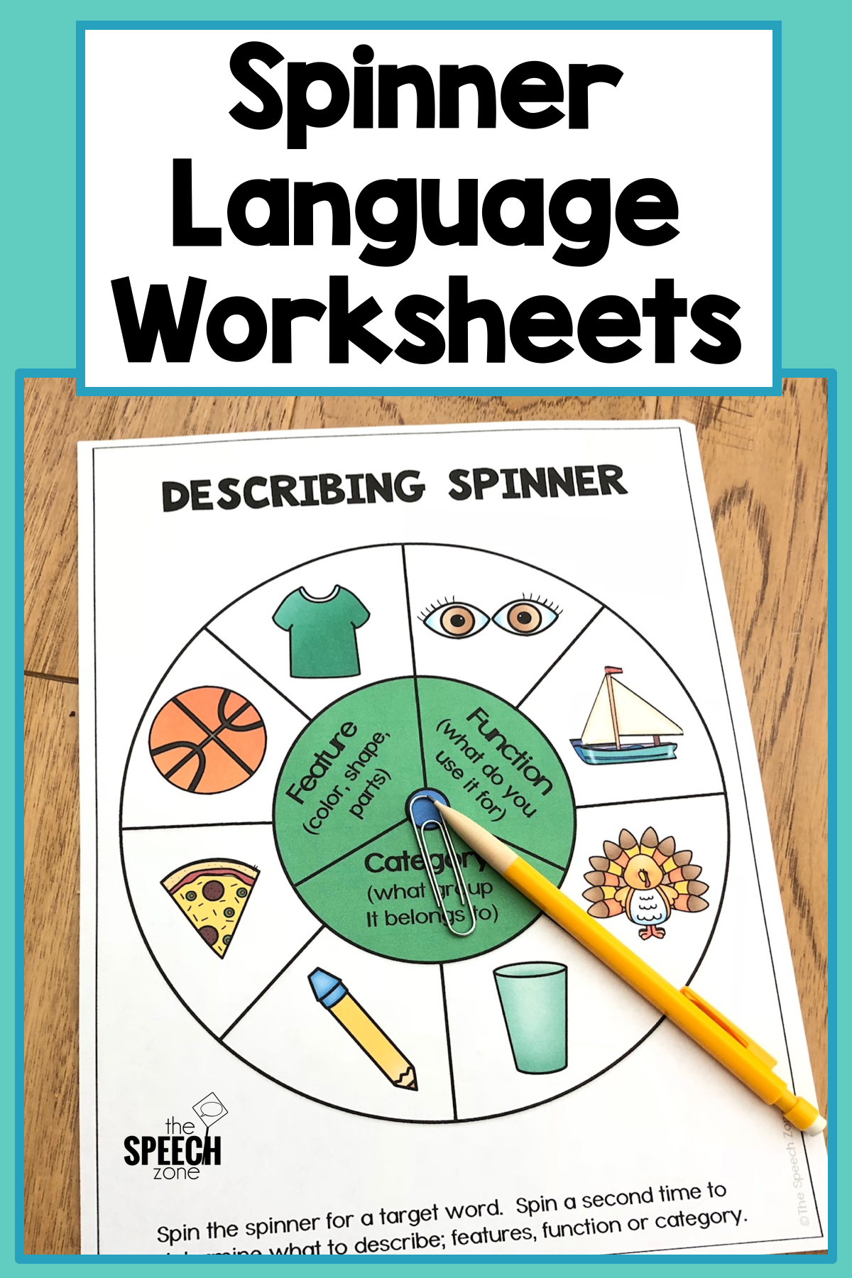 Spinner Describing Vocabulary Worksheets