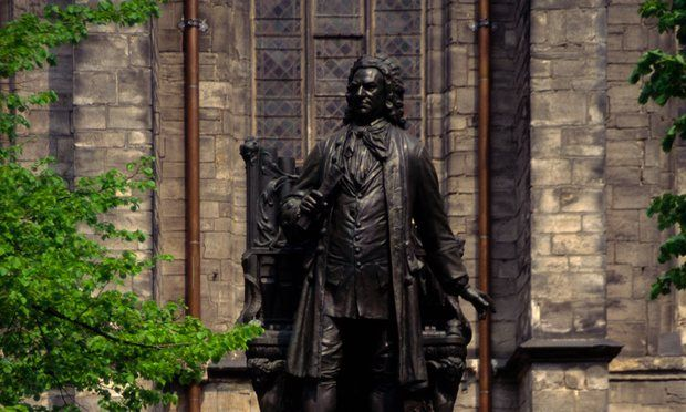 A statue of JS Bach in front of the Thomas Church in Leipzig, Germany, where his St Matthew Passion was first performed in 1727.