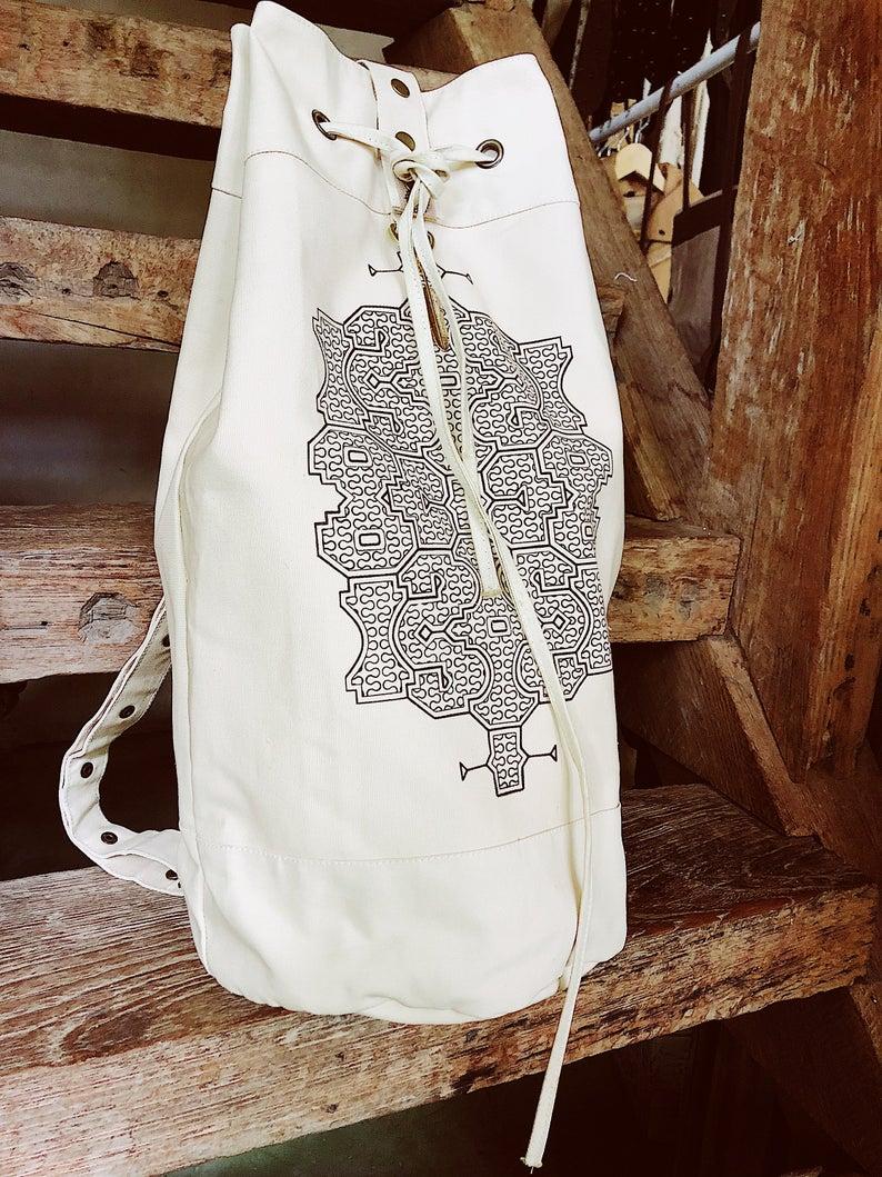 Giant Canvas Torba Backpack \u2206 Peru Shipibo Art Printed Boho Backpack \u2206 Large Cotton Canvas Bag \u2206 Durable Vegan Sack Backpack  Off-white