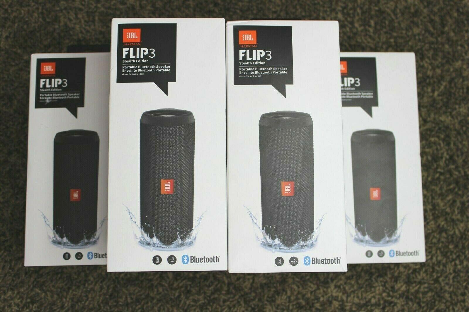 Jbl Flip 3 Stealth Edition Portable Bluetooth Speaker Black Ipx7 Waterproof New Blueto Waterproof Bluetooth Speaker New Bluetooth Speakers Bluetooth Speakers
