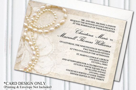 Pearls & Lace Wedding Invitation - Glam Themed Wedding, Glamorous, Ivory, DIY Bride, Chic, Romantic, Traditional, Make Your Own, PRINTABLE,