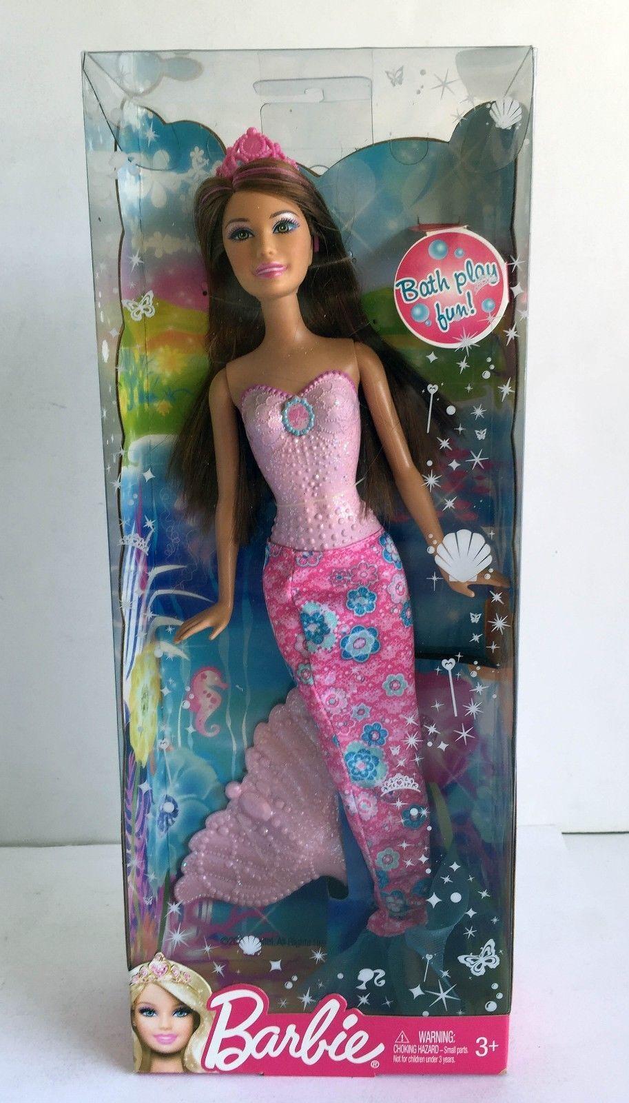 Brown Hair /& Pink // Purple Tail Barbie Ages 3+ Bath Play Fun