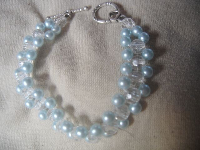 Light Blue Glass Pearls and clear crystals Handcrafted Bracelet