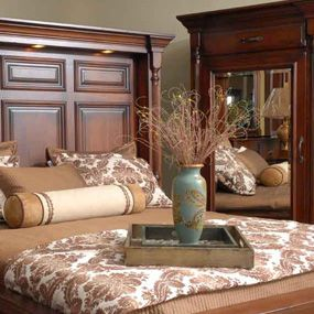 The Thick Molding Works To Create A Stately Look In This Bedroom With  Furniture From Homestead Furniture In Mt. Hope Ohio. Miller