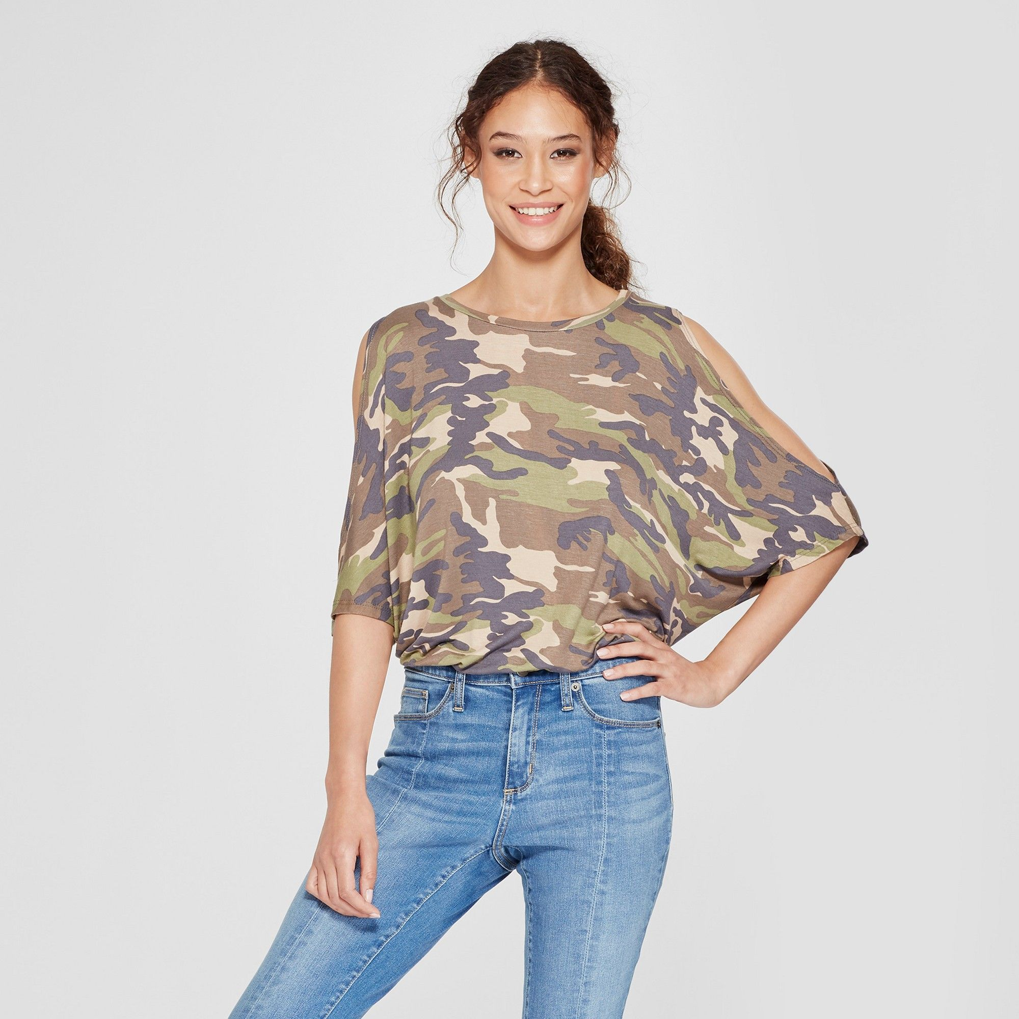 ea626c6682d Women s Camo Print Elbow Sleeve Cold Shoulder Wedge Top - Alison Andrews  Green M