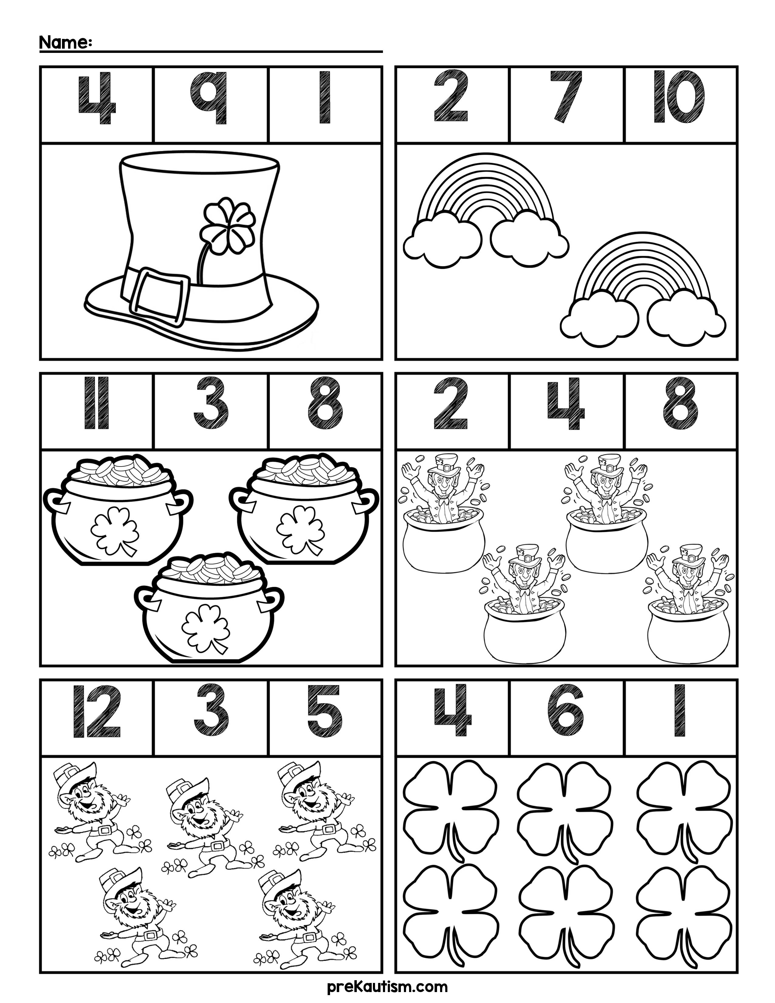 Predownload: Free St Patrick S Day Quantity Worksheets Numbers 1 12 St Patrick Day Activities March Preschool Worksheets St Patrick S Day Crafts [ 3300 x 2550 Pixel ]