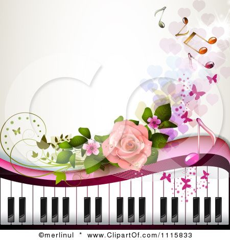 Piano Keyboard And Rose Background With Music Notes 3 Posters Art Prints Desafio Musical Papel De Parede De Fundo Amor A Musica