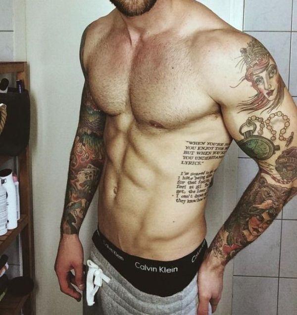 Tatuagem Masculina Na Costela Frase Tattoos Tatuering