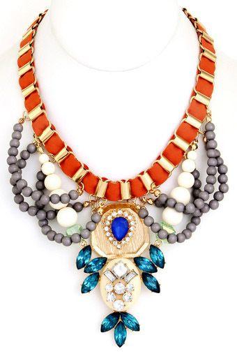 Shop Suey Boutique - KARRI NECKLACE, $28.50 Threaded chain acrylic stone necklace