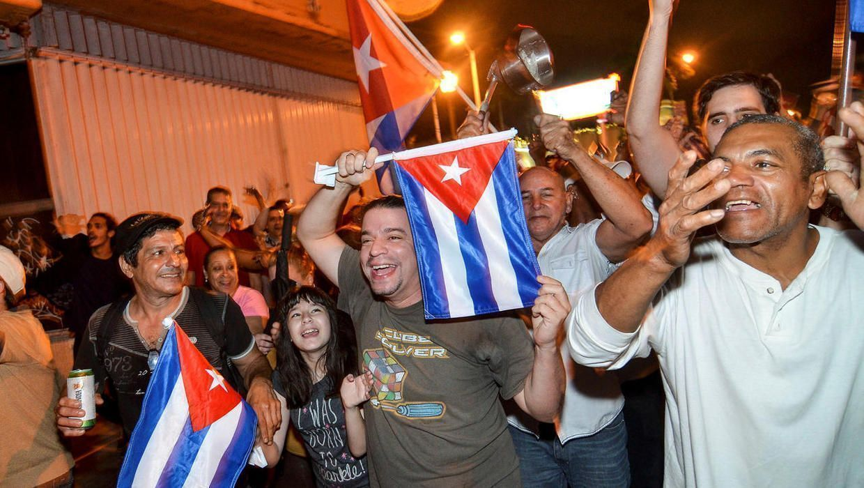 Fidel Castro's death celebrated in Little Havana: Satan, Fidel is now yours #cubanleader Cuban Americans in the Little Havana neighborhood of Miami, Florida, celebrate upon learning of the death of longtime Cuban leader Fidel Castro, November 26, 2016. #cubanleader Fidel Castro's death celebrated in Little Havana: Satan, Fidel is now yours #cubanleader Cuban Americans in the Little Havana neighborhood of Miami, Florida, celebrate upon learning of the death of longtime Cuban leader Fidel Castro,