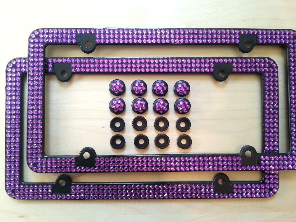 2X 3 Row Purple Bling Rhinestone Black Coated License Plate Frame w ...