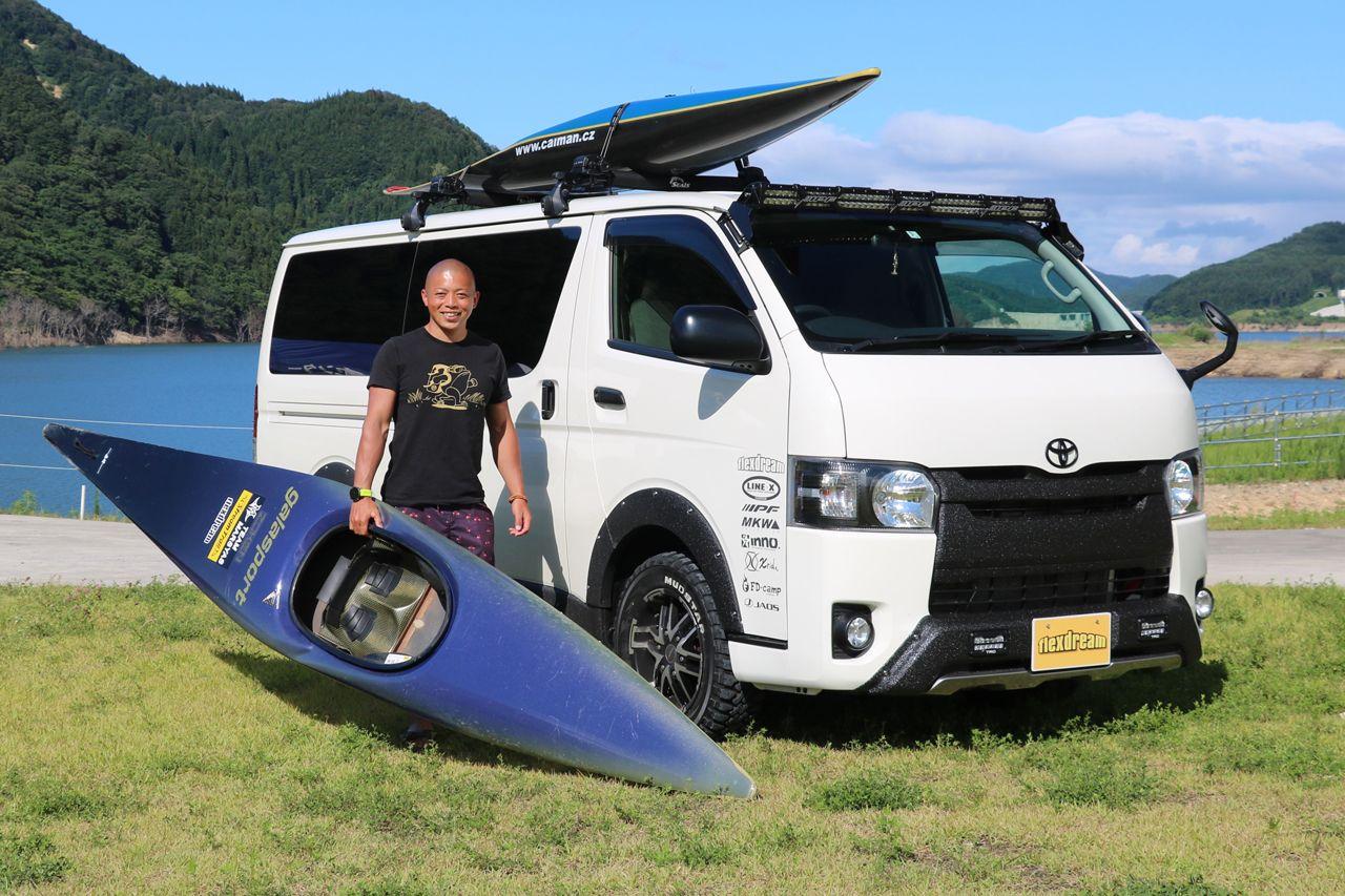 カヌースラローム オリンピック日本代表 矢澤一輝選手サポートカー ハイエースカスタム パドルフェスでお披露目しました フレックス ドリーム ハイエース カスタム ハイエース トヨタハイエース