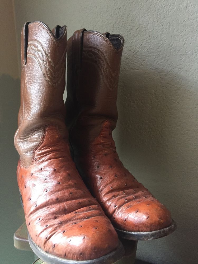 Justin Full Quill Ostrich Leather Ladies Roper Cowboy Western Boots Brown 4 5 B Justin Cowboywestern Western Boots Women Ostrich Leather Roper Cowboy Boots