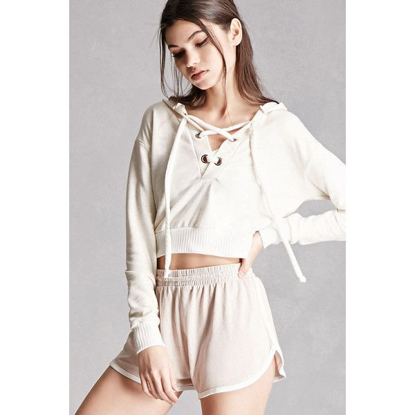 7834de21325d80 Forever21 Cropped Lace-Up Hoodie ( 28) ❤ liked on Polyvore featuring tops