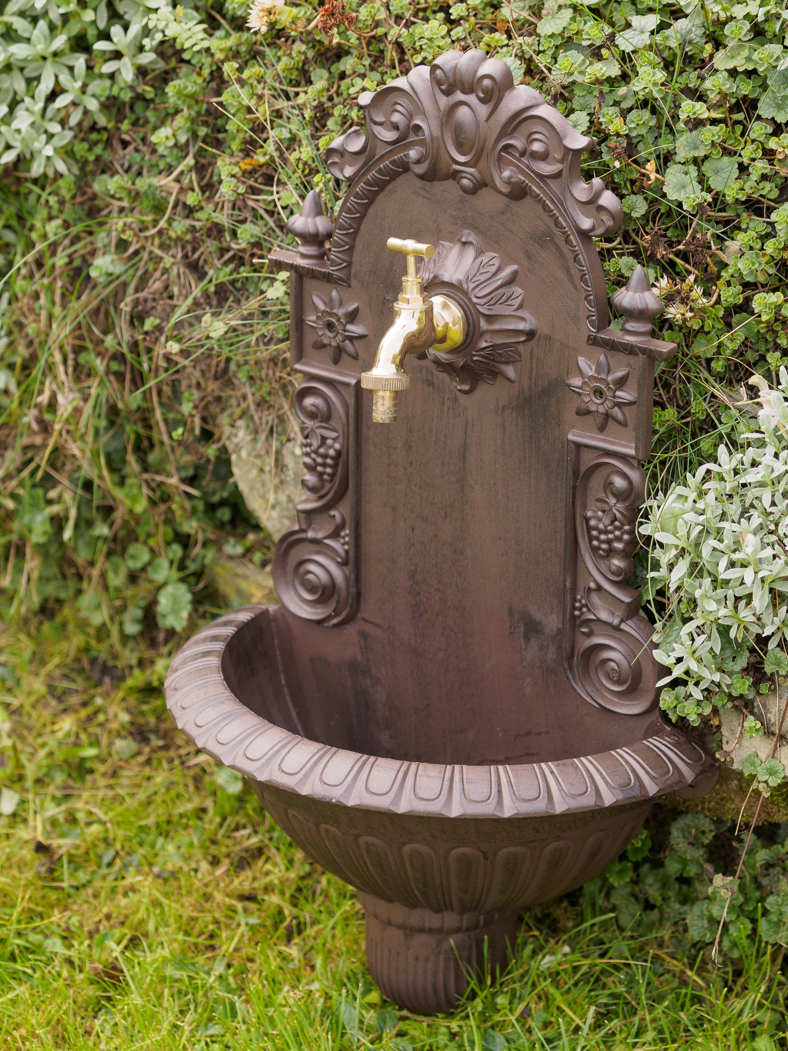 Waschbecken Wein Wandbrunnen Garten Aluminium Becken Antik Stil Wandbrunnen Gartenwaschbecken Kleiner Hinterhof Design