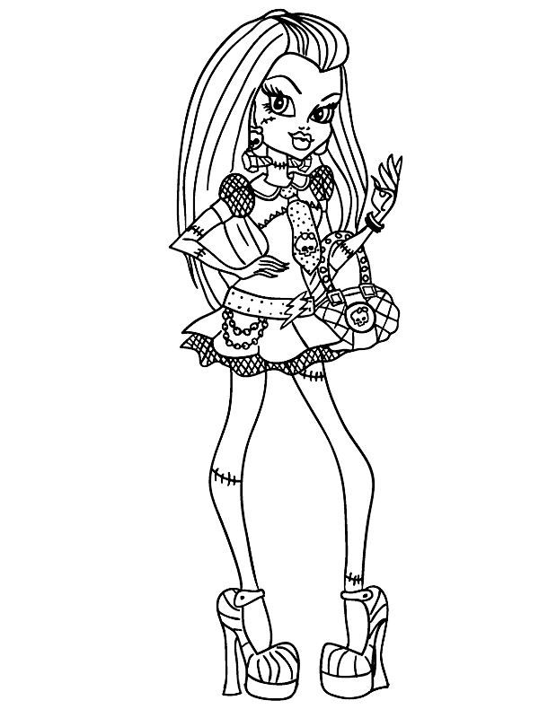 Coloring Page Monster High Frankie Stein