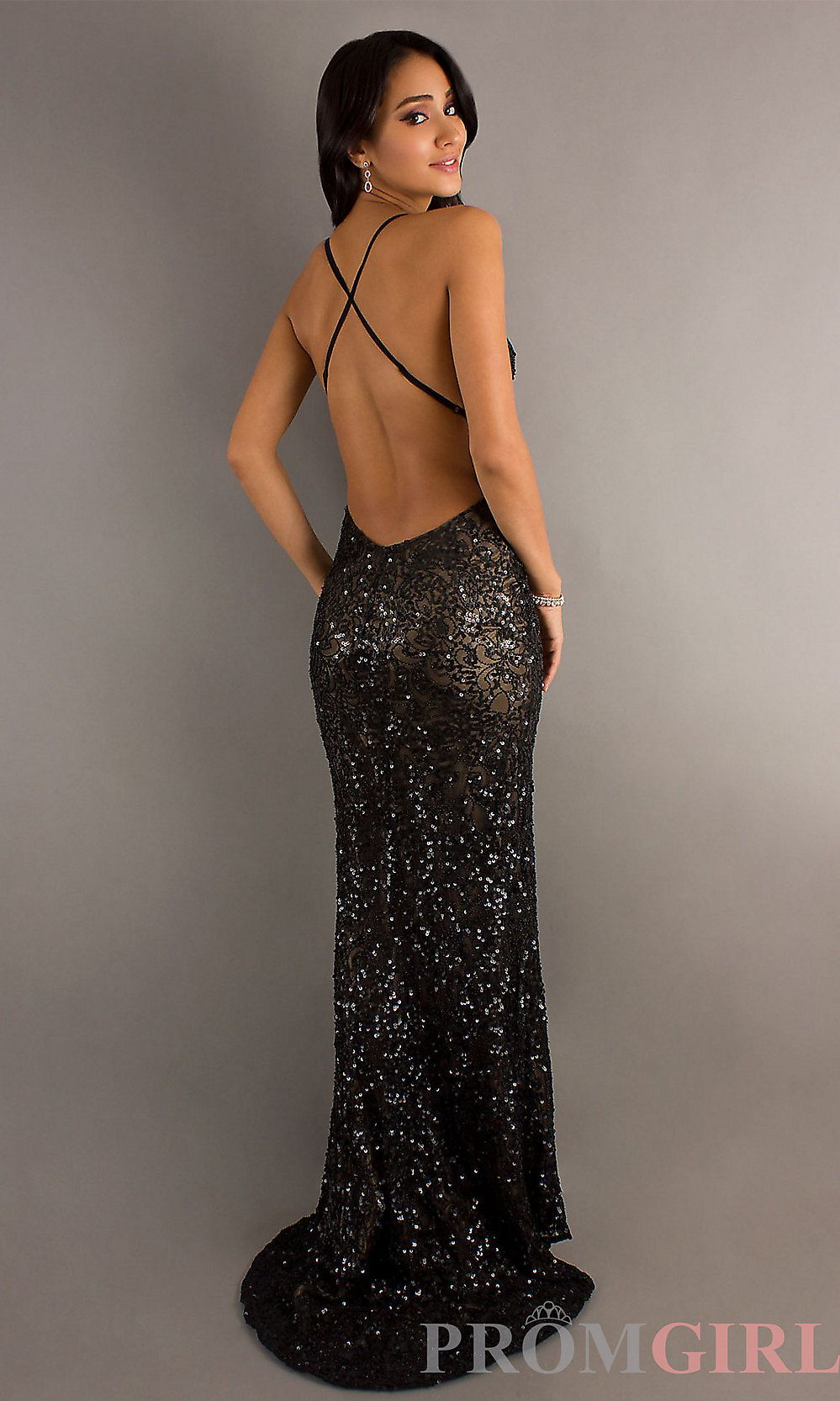 Sequin gown with open back scala sequin long dresses promgirl