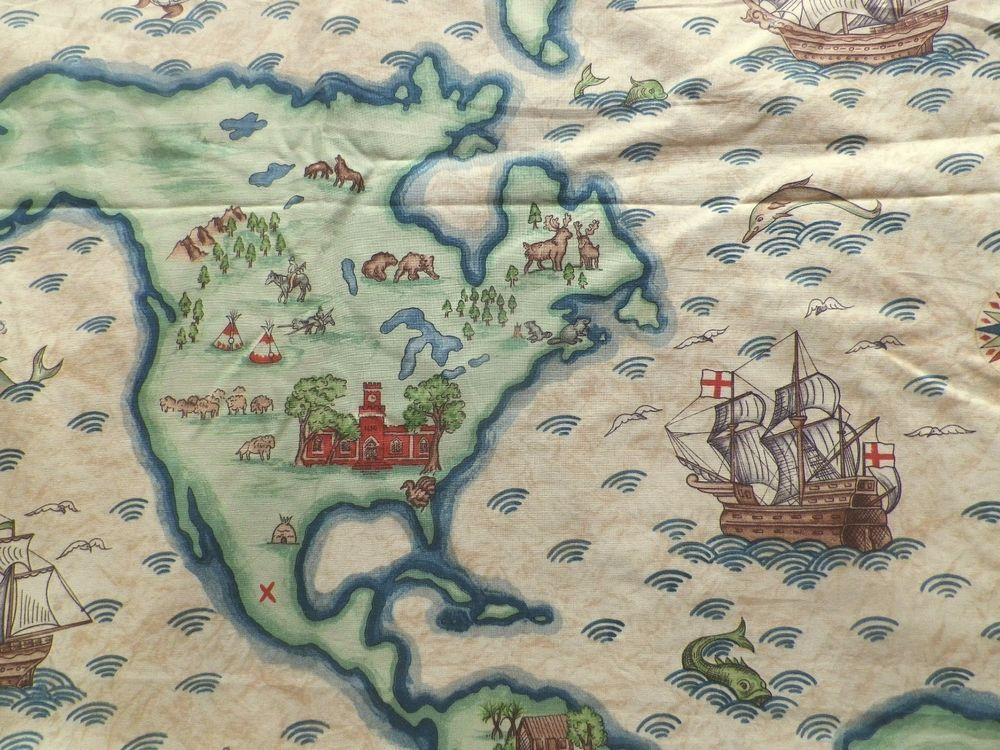 The new world map print cotton interiors fabric from the nursery the new world map print cotton interiors fabric from the nursery window gumiabroncs Image collections