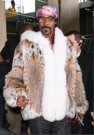 f699a0f6f40 Snoop Dogg wearing a cat lynx jacket with shadow fox tuxedo and trimming on  hood while traveling in Paris