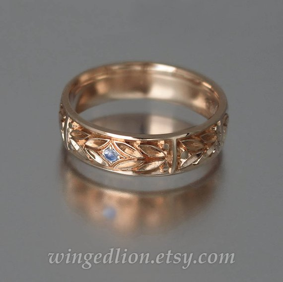 Evergreen Laurel Wedding Band 14k Rose Gold With Moonstone In 2021 Mens Gold Wedding Band Yellow Gold Wedding Band Mens Wedding Bands