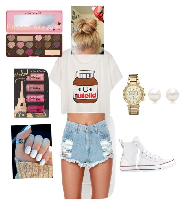 """Lazy summer day"" by prettypurplepegasus on Polyvore featuring Too Faced Cosmetics, Converse, Michael Kors and Tiffany & Co."