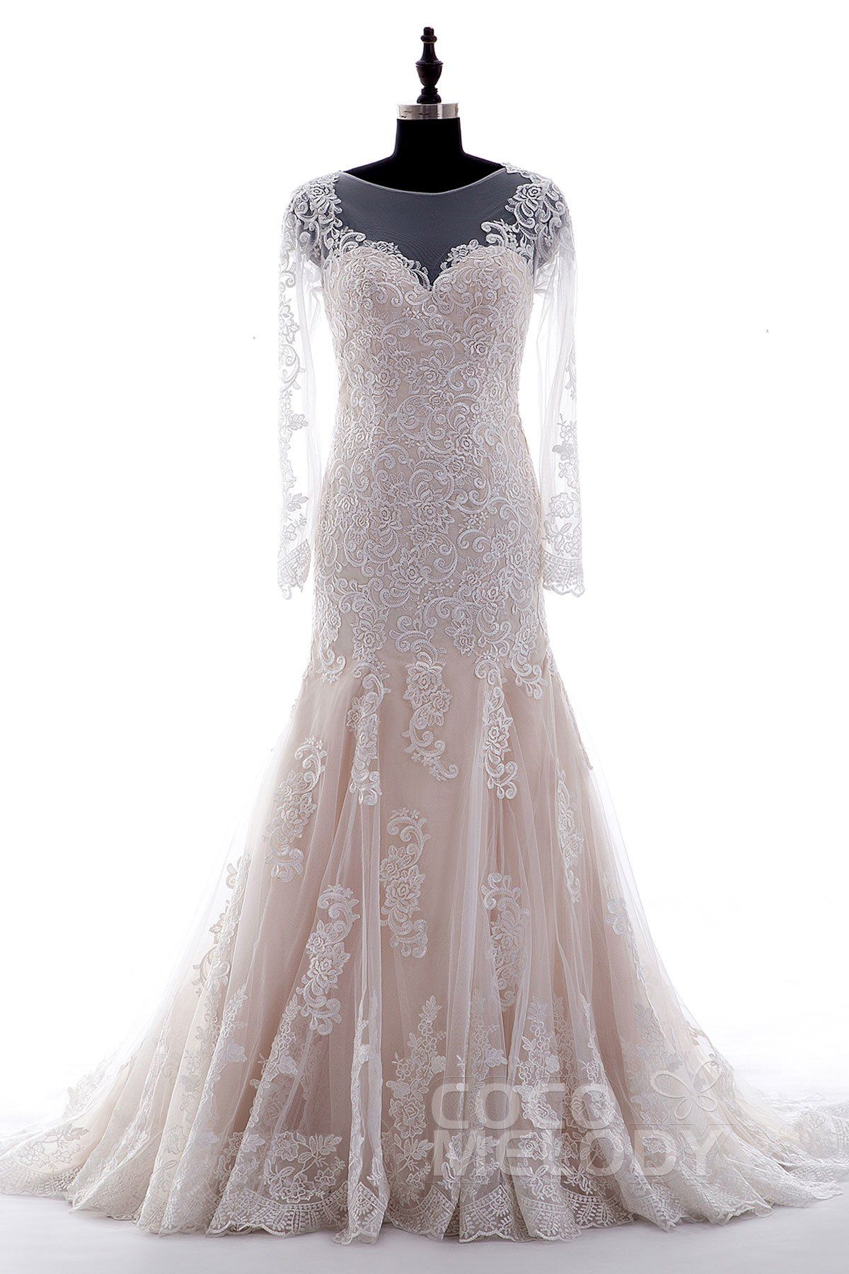 Long sleeve ivory wedding dress  Queenly TrumpetMermaid Illusion Natural Court Train Tulle and Lace