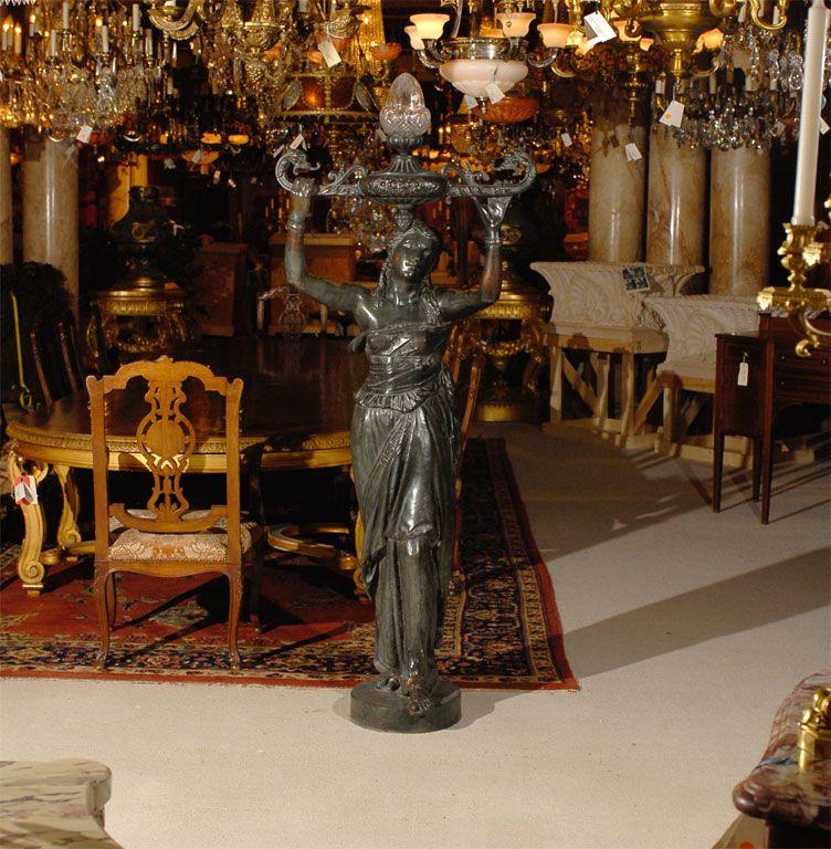 12 Inch Metal Home Decor Oriental Pearl Figurine Iron: Val D'osne Bronze Over Iron Statue