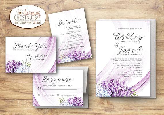 Lilac Wedding Invitation Set Purple Wedding Floral Invitation