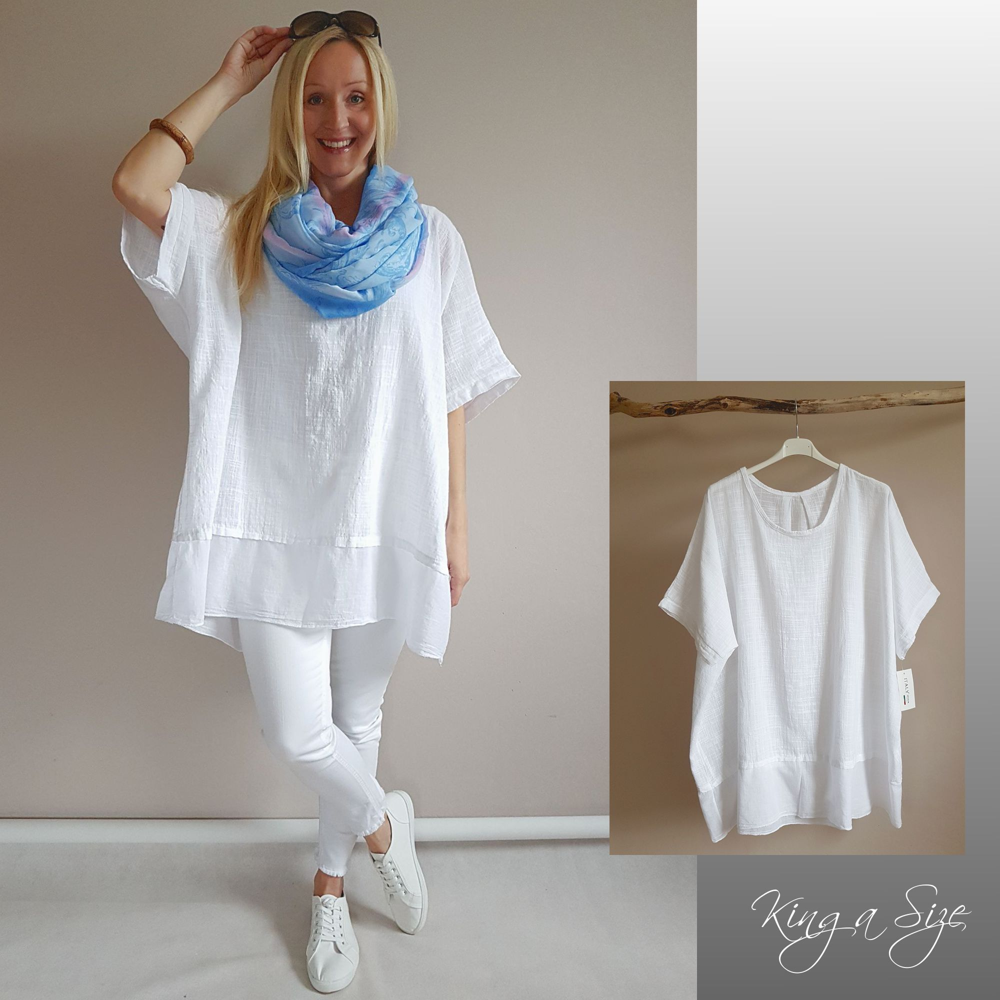 Damen Lagenloock Pullover Tunika Shirt Longshirt A-Form Print 46 48 50  Italy